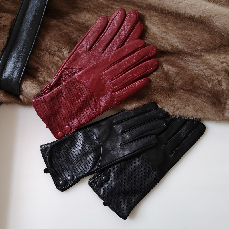 Real Leather Gloves Female Thin High Quality Goatskin Keep Warm  Hollow With Button Spring Autumn Fashion Women Gloves L090NN