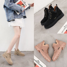 Europe Women Boots Autumn Winter New Flock Ankle Martin Boots Solid Flats Shoes Woman Classic Platform Boots Lace-up Non-slip autumn winter ankle boots women platform boots lace up black white leather rubber boots woman shoes comfortable women s boots