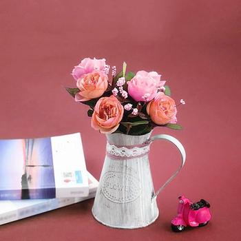 Vintage cyny wiadro modne żelaza wazon na kwiaty Retro metalowe dzbanki dla Home Office Party festiwal dekoracji kute styl ludowy tanie i dobre opinie CN (pochodzenie) CLASSIC iron Wazon podłogowy