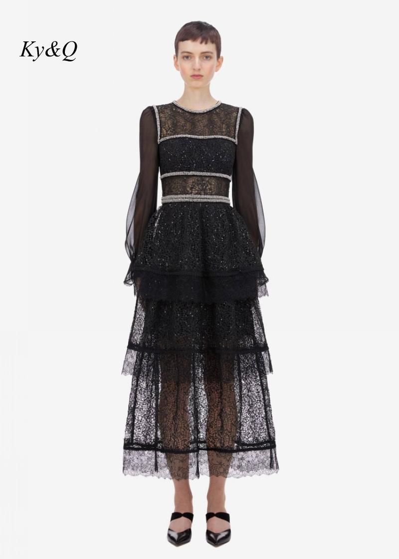 2020 preto marcas designer feminino vintage mangas compridas vestido de renda miçangas bordado vestido floral longo banquete festa longo vestido