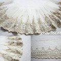 15 см в ширину, роскошное Европейское Золотое Сетчатое 3d вышитое кружево, белое Тюлевое свадебное платье с отделкой из пряжи, ручная работа, ш...