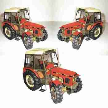 1:32 DIY Czech Zetor 7745-7211 Tractor Card Model Building Sets Manual Agricultural Machinery Car Model Educational Toy image