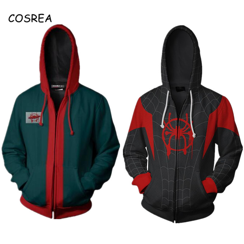 Spider-Man Into the Spider-Verse Miles Morales Hoodie Fleece Sweater Outwear