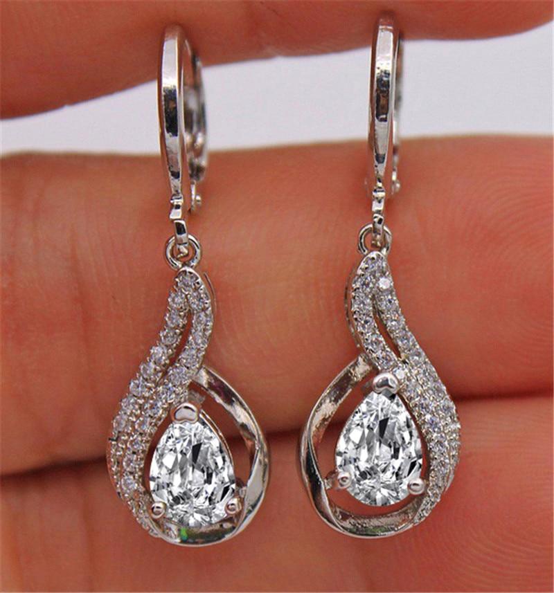 Multicolor Crystal Water Drop Dangle Earrings For Women White Gold White Blue Purple Black Green Zircon Drop Earrings Wedding Cz