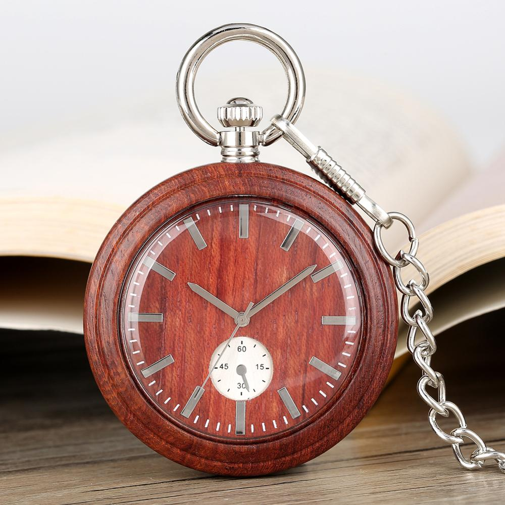 Lightweight Pocket Watch Red Sandalwood Open Face Chain Watch Quartz Analog Wooden Male Watch Gift Montre A Gousset Chaine