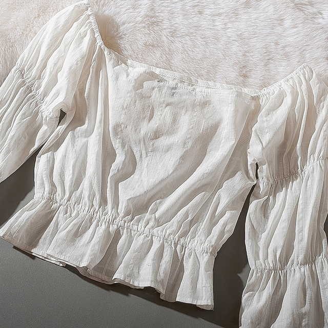 Cthink Spring 2020 New Slash Neck White Short Blouse Women Stylish Flare Sleeve Slim Soft Cotton Busas Good Summer Women's Dress 10