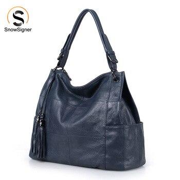 цена на 2020 New Fashion Soft Real Genuine Leather Tassel Women's Handbag Ladies Shoulder Tote Messenger Bag Purse Satchel Black Gray