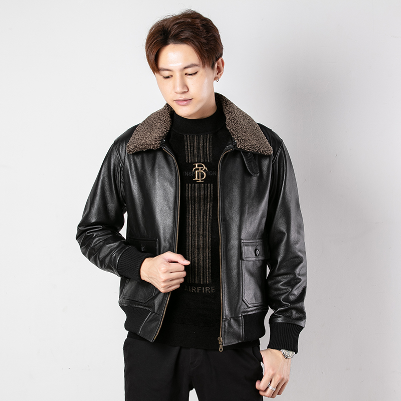Free Shipping.Classic G1 Style Mens Cowhide Coat,motor Leather Jackets,man Black Genuine Leather Jacket.homme Outdoor Cotton