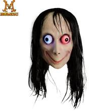 Molezu LED Light MoMo Creepy Mask Scary Challenge Games Evil Latex Mask With Long Hair Halloween Costume Party Props(China)