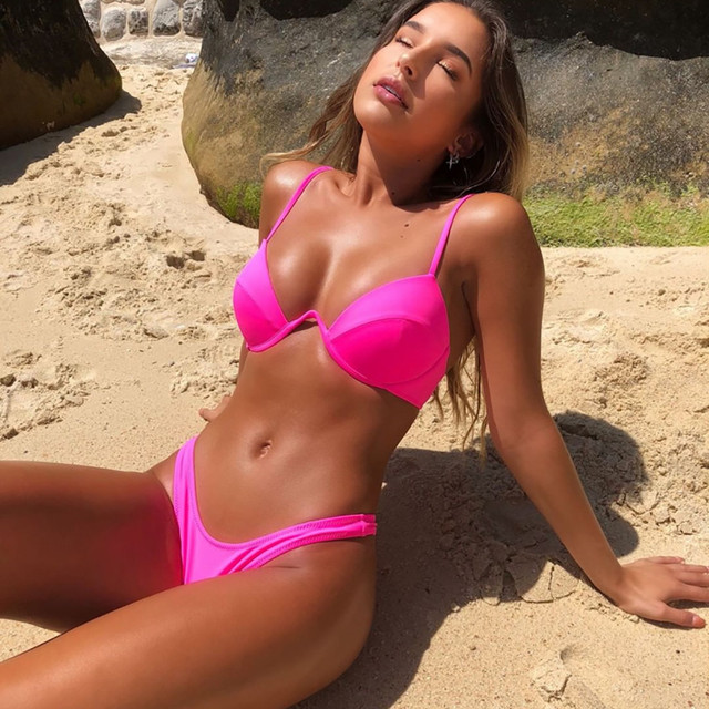 Women's Bikini Solid Set Swimsuit Two Piece Filled Bra Swimwear Beachwear Bathing Suit High Waist Maillot De Bain Femme Biquinis 12