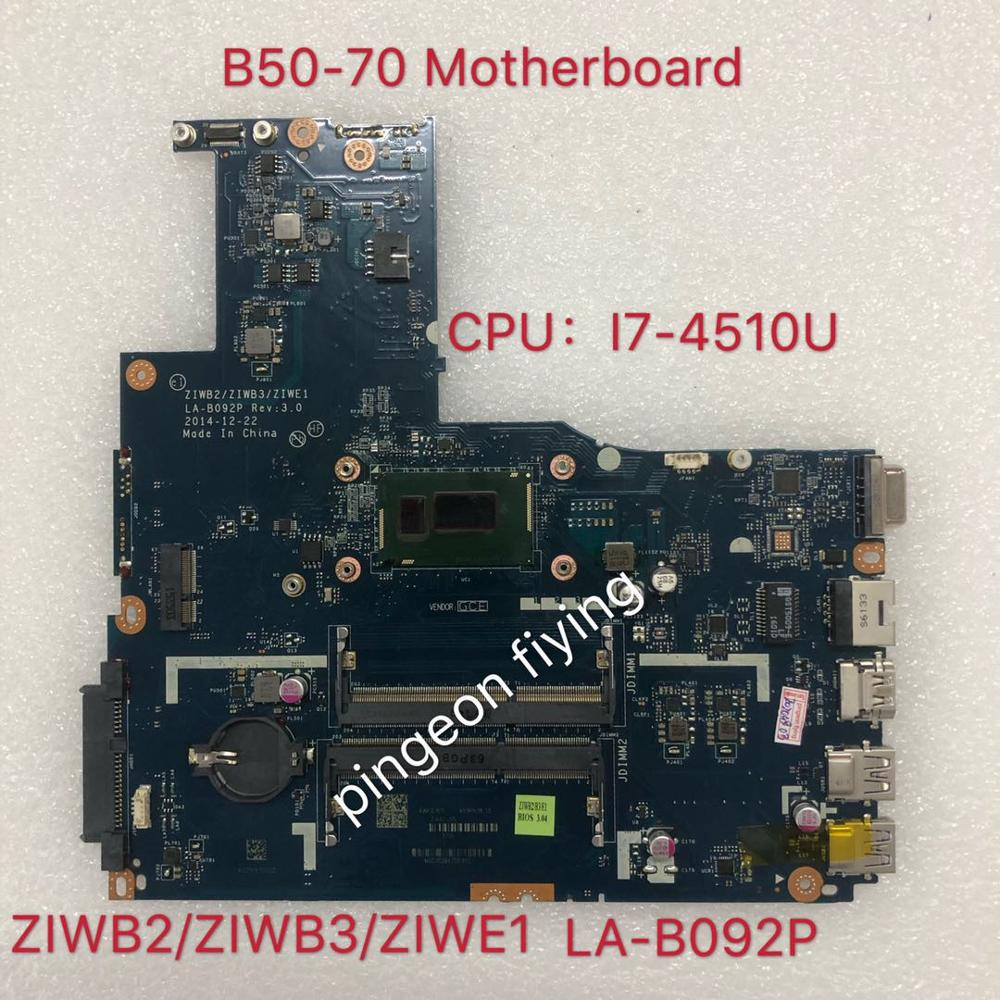 Applicable to B50-70 notebook motherboard I7-4510U UMA number LA-B092P FRU 5B20G45994