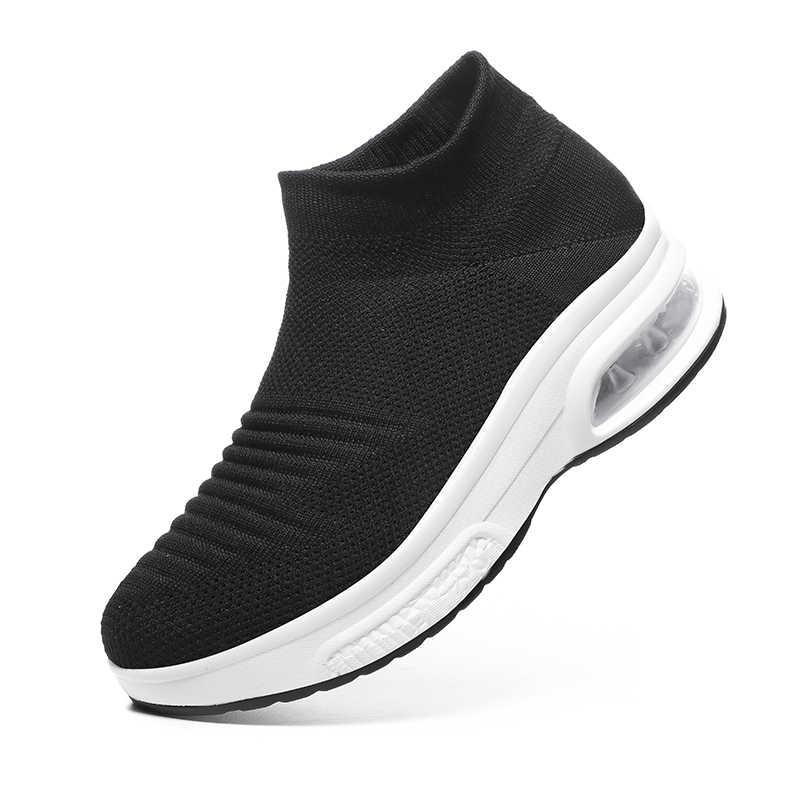 Dumyuan yüksek üst çorap Sneakers kadın yarım çizmeler düz çorap ayakkabı bayan vulkanize ayakkabı Sneakers üzerinde kayma hava yastığı kama hediye