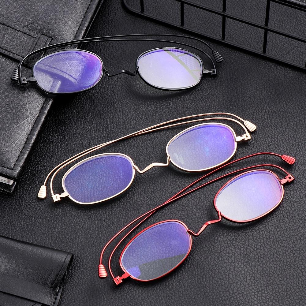 1Pc Unisex Portable Anti Blue Light Reading Glasses For Women&Men Metal Small Frame Presbyopic Eyeglasses With Case+1.0 To +4.0