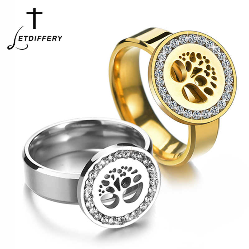 Letdiffery Vintage Hollow Tree of Life Clear Crystal Wedding Rings Never Fade Silver Stainless Steel Women Fashion Jewelry