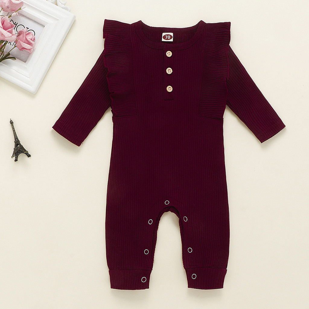 Baby Spring Winter Clothing Newborn Baby Girl Boy Ribbed Clothes Knitted Cotton Romper Baby Jumpsuit