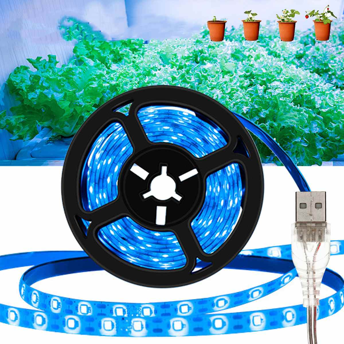 Full Spectrum LED Grow Light USB 5V LED Greenhouse Strip 0.5 1 2 3m Waterproof 2835 SMD LED Phyto Lamp Hydroponic Plant Growing