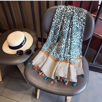 Luxury Women Brand Cotton Scarf Large Shawls Pashmina Hijab Foulard Echarpe Design Print Lady Beach