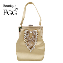 Boutique De FGG Diamond Women Satin Evening Purses Bag Wedding Cocktail Metal Clutches Handbags Bridal Crystal Clutch Totes Bag