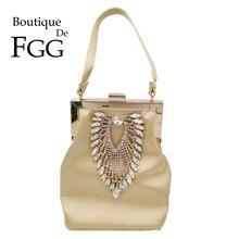 Boutique De FGG diamant femmes Satin soirée sacs à main sac De mariage Cocktail métal embrayages sacs à main mariée cristal pochette fourre tout sac