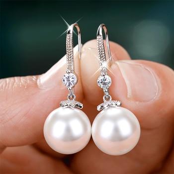 Huitan Elegant Round Imitation Pearl Dangle Earrings Dazzling CZ Women Engagement Wedding Graceful Accessories Fashion Earrings 1