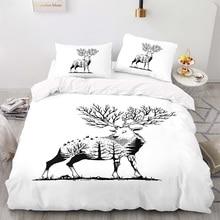 Duvet-Cover-Set Size-Bedding King Cartoon with Pillowcase 140200 Forest Deer-Pattern