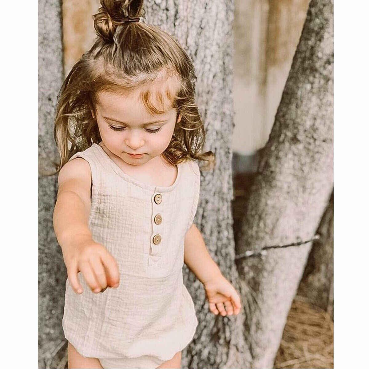 2019 nowy stałe maluch dziewczynka Kid bez rękawów O Neck bawełna Romper kombinezon letnie ubrania odzież dla niemowląt