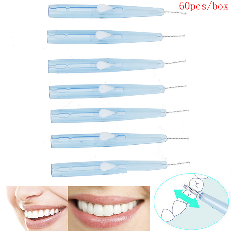 60pcs Push-Pull Interdental Orthodontic Brush Gum Dental Floss Orthodontic Wire Brush Toothbrush Oral Care Toothpick Teeth Brush