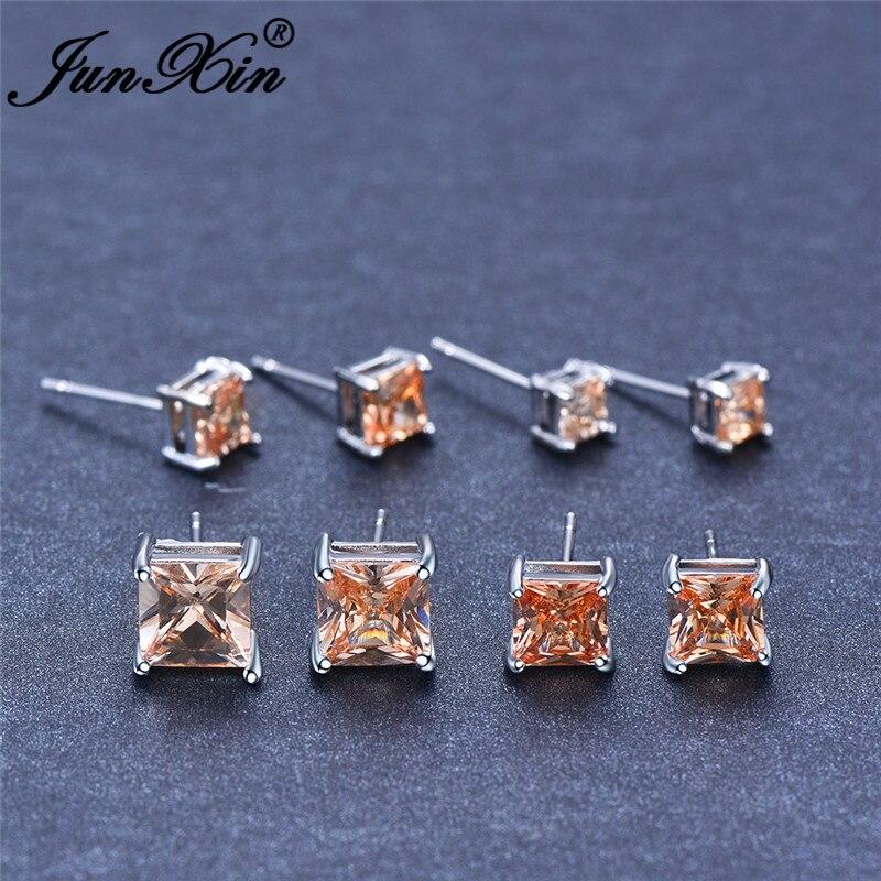 Zircon Square Stud Earrings For Women Princess Crystal Birthstone Wedding Ear Studs Jewelry