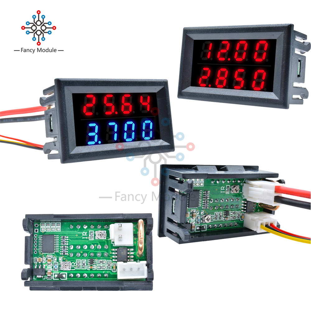 LED Digital DC Voltmeter Ammeter 4 Bit 5 Wires DC 200V 10A Voltage Current Meter Power Supply Red Blue LED Dual Display Detector