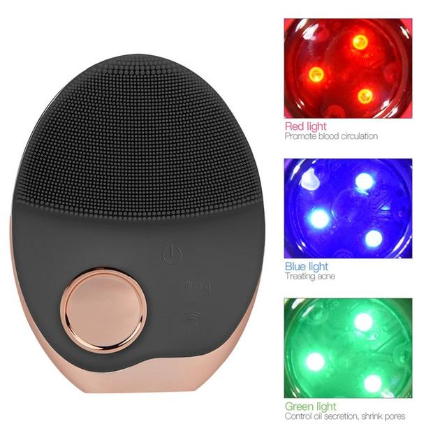ミニ電気超音波ワイヤレス充電洗顔ブラシシリコーン充電式光子と顔防水マッサージ 40