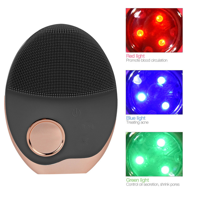 Mini Electric Ultrasonic Wireless charging Facial Cleansing Brush Silicone Rechargeable Face Waterproof Massager with Photon 40