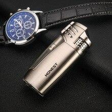 цена на HONEST 3 Jet Flame Metal Cigar Lighter Butane Cigarette Torch Arc Lighter Lighter Gadgets For Gifts