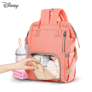 Image 4 - Disney Baby Diaper Backpack Moms Baby Nursing Bag Mother Maternity Nappy Changing Bag Travel Stroller USB Heating Mickey Series