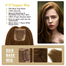 "MW PU + Silk Base Hair Wig Topper Human Hair Pieces For Women 4*3"" Brown Blond Color 150% Density 3 Clips Attached Hair Toupees(China)"