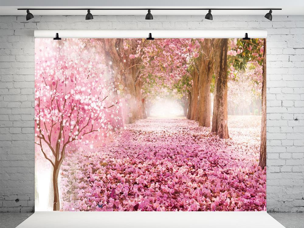 10X10FT Vinyl Photography Backdrop Cherry Blossom Fresh Flowers Bokeh Halos Glitter Sequins Nature Romantic Wedding Background Baby Girl Lover Photo Studio Props