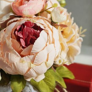 Image 4 - Retro rustik tarzı gelin gelinlik buketleri yapay şakayık sahte gül düğün tutan çiçek uzun kurdele bağı parti dekorasyon