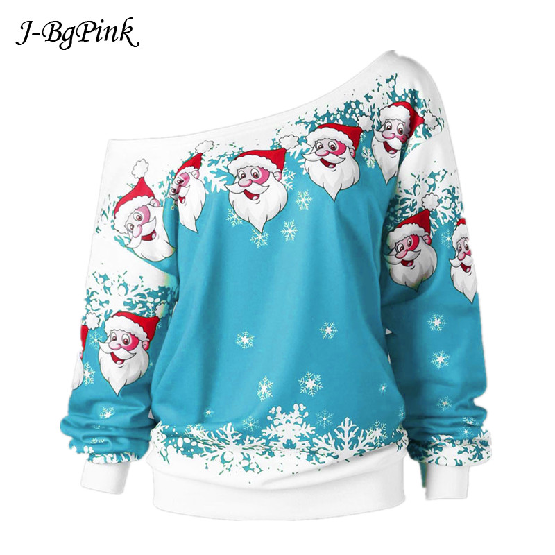 Women Casual Ugly Sweater Christmas Sweater Santa Claus Printed Loose Sexy Snowflake Pullover Autumn Winter Christmas Clothes