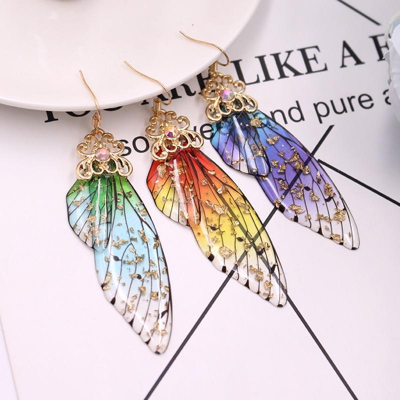 Handmade Fairy Simulation Wing Earrings Insect Butterfly Wing Drop Earrings Foil Rhinestone Earrings Romantic Bridal Jewelry 1