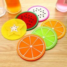 1 шт. современная мода фруктовая подставка красочная силиконовая чашка держатель для напитков коврик для посуды Изолированная подставка