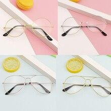 Optical-Mirror Glasses-Frame Women/men Clear-Len Myopia Classic New Metal 1pc Flat Simple