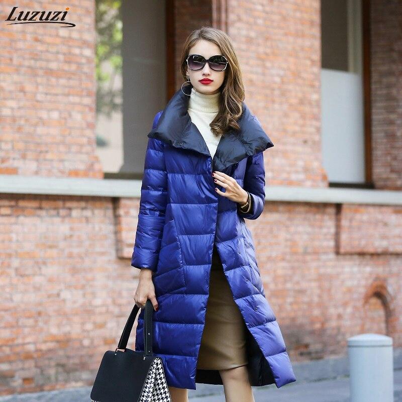 Luzuzi Women Double Sided Down Long Jacket Winter Turtleneck White Duck Down Coat Double Breasted Warm Padded Parkas Snow coat|Down Coats| - AliExpress