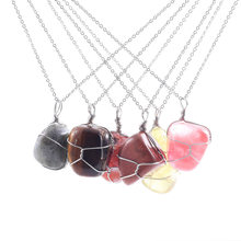 Wholesale Natural Gem Stone Rose Quartzs Irregular Pendants Necklace Jewelry Gift for Women Men Natural Jewelry Stone Necklace wholesale joursneige fine huang long natural stone pendants carving horse pendant necklace lucky for women gift zodiac jewelry