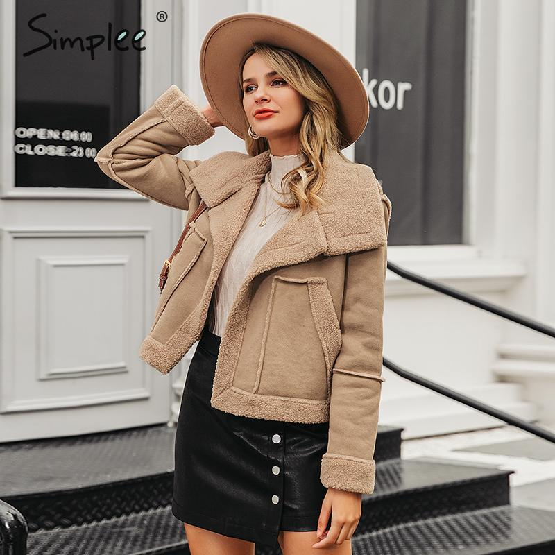 Simplee Fashion Suede Patchwork Women Faux Fur Coat Autumn Winter Big Pockets Female Warm Jackets Outwear Office Ladies Overoats