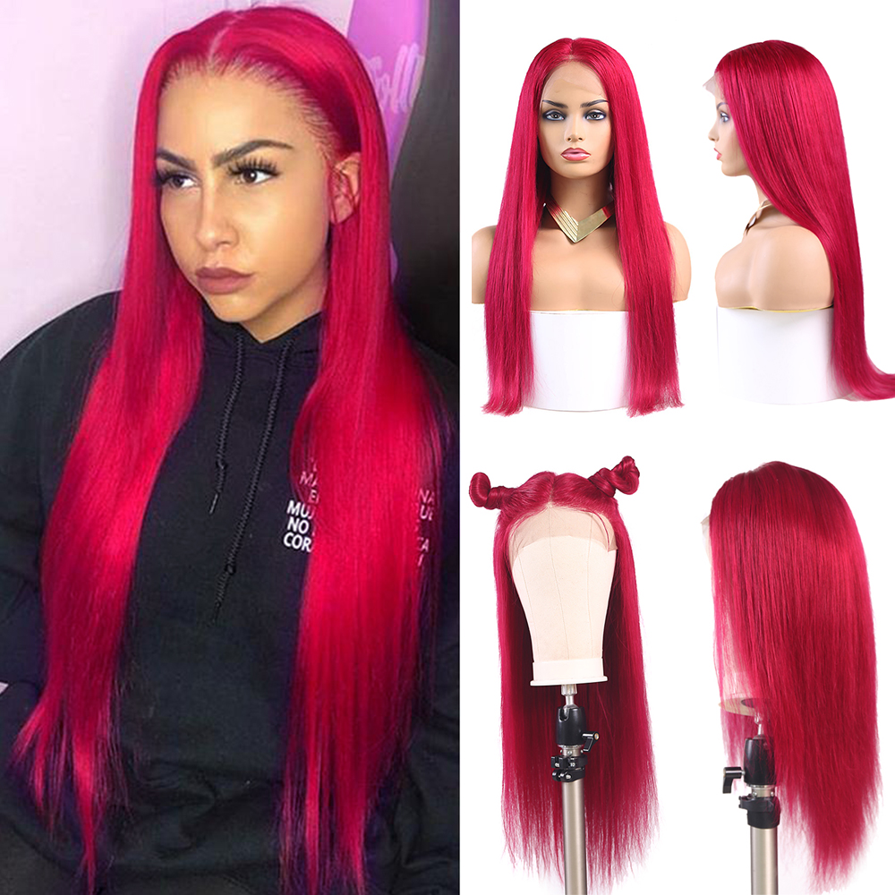 13x4 Lace Frontal Wigs 99J/Burgundy Pre Plucked Brazilian Straight Lace Front Human Hair Wigs African American Women Wigs Remy