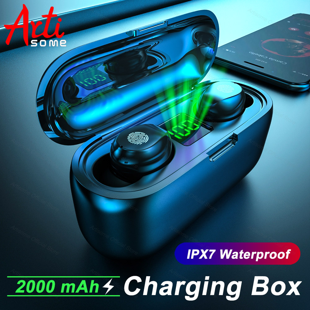 F9 TWS Sport Wireless Bluetooth 5.0 Earphones Battery LED Display With 2000mAh Charging Box IPX4 Waterproof In-Ear Headset