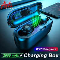 F9 TWS Sport bezprzewodowe słuchawki Bluetooth 5.0 bateria LED z 2000mAh etui z funkcją ładowania IPX4 wodoodporna słuchawka douszna