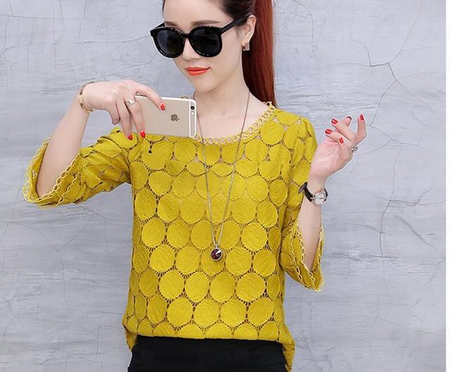 2019 autumn plus size lace flare sleeve women chiffon blouse shirt casual solid hollow women clothing top femlae blusas 905E 30 2