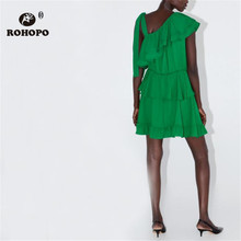 ROHOPO One Shoulder Cascading Ruffles Cake Green Dress Ladies Asymmetric Party Vestido #2187