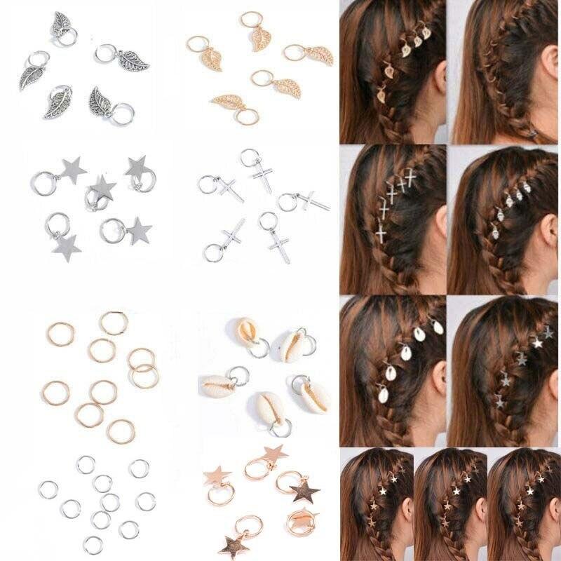 20Pcs Twist Braid Hair Ornaments For Women Girls DIY Alloy Circle Hoop Hair Braid Rings Pendant Charms Hair Accessories