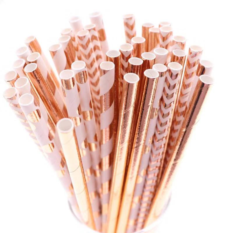 25/50pcs Aluminum Rose Gold Foil Paper Straws Stripe Dot Mixed Birthday Party Decoration Adult Wedding Invitations Party Favors